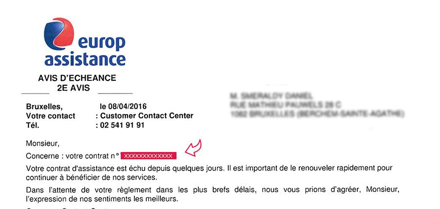 contrat europe assistance